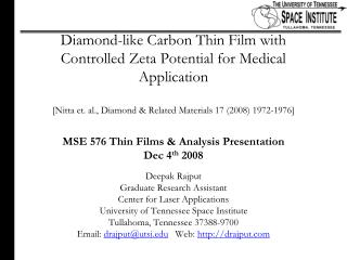 Diamond-like Carbon Thin Film with Controlled Zeta Potential for Medical Application  [Nitta et. al., Diamond  Related M