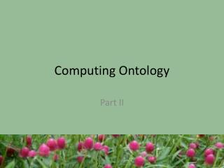 Computing Ontology