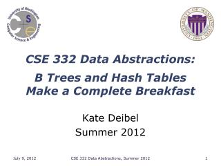 CSE 332 Data Abstractions: B Trees and Hash Tables Make a Complete Breakfast