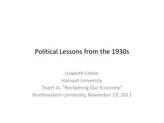 Political Lessons from the 1930s