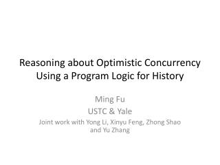 Reasoning about Optimistic Concurrency Using a Program Logic for History