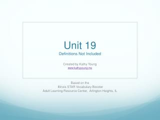 Unit 19 Definitions Not Included