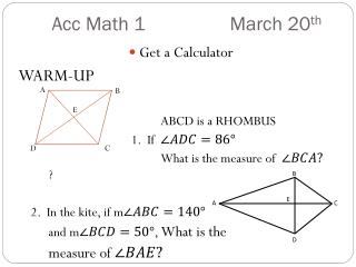 Acc  Math 1	  		March 20 th