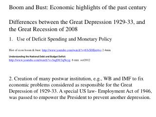Boom and Bust: Economic highlights of the past  century