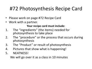 #72 Photosynthesis Recipe Card