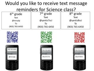 Would you like to receive text message reminders for Science class?