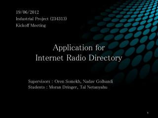 Application for Internet Radio Directory