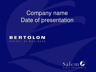 Company name Date of presentation