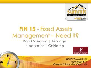 FIN 15  - Fixed Assets Management – Need It?
