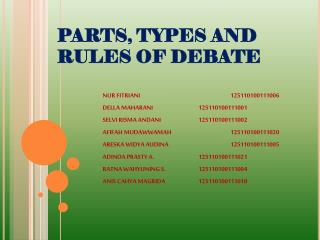 PARTS, TYPES AND RULES OF DEBATE