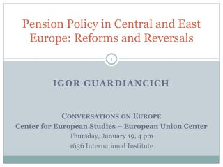 Pension Policy in Central and East Europe: Reforms and Reversals