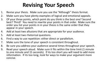 Revising Your Speech
