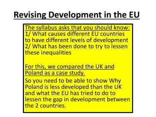 Revising Development in the  EU