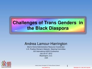 Challenges of Trans Genders  in the Black Diaspora