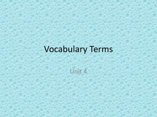 Vocabulary Terms