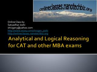 Analytical and Logical Reasoning for CAT and other MBA exams