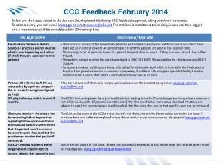CCG Feedback February 2014