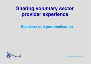 Sharing voluntary sector provider experience