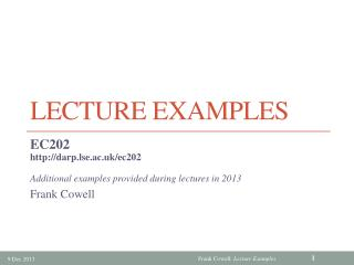 Lecture Examples