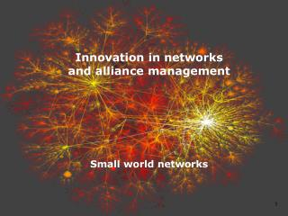 Innovation in  networks and alliance  management Small  world networks