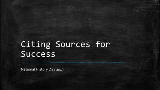 Citing Sources for Success