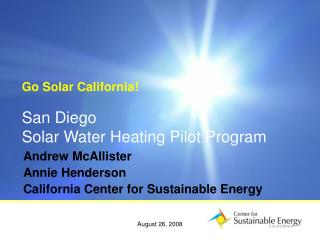 San Diego Solar Water Heating Pilot Program
