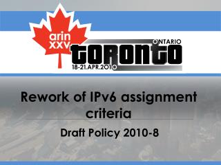 Rework of IPv6 assignment criteria