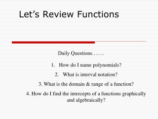 Let's Review Functions