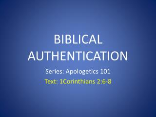 Biblical Authentication