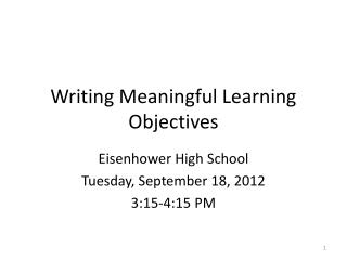 Writing Meaningful Learning Objectives