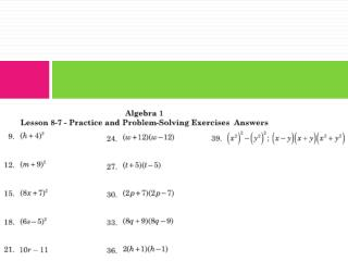 §8.8 Factoring by Grouping
