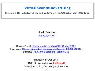 Virtual Worlds Advertising