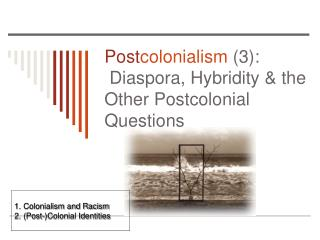 Post colonialism  (3):   Diaspora, Hybridity & the Other Postcolonial Questions