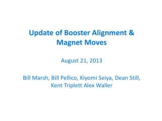 Update of Booster Alignment & Magnet Moves  August 21, 2013