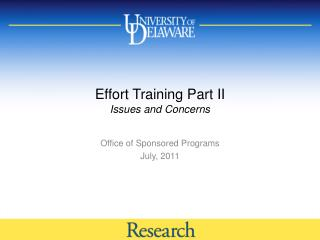 Effort Training Part II Issues and Concerns