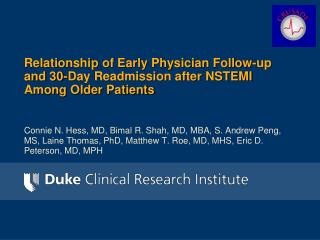 Relationship of Early Physician Follow-up and 30-Day Readmission after NSTEMI Among Older Patients