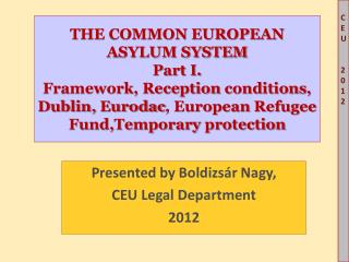Presented by  Boldizsár  Nagy, CEU  Legal Department 2012