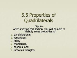 5.5 Properties of Quadrilaterals