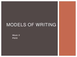 Models of writing