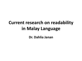 Current  research  on readability in Malay Language