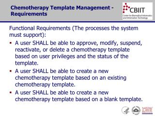 Chemotherapy Template Management - Requirements