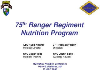75 th  Ranger Regiment Nutrition Program