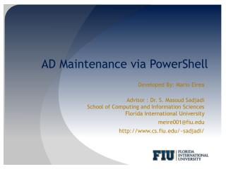 AD Maintenance via PowerShell