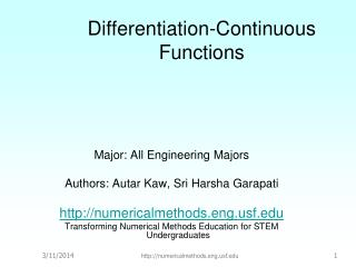 Differentiation-Continuous Functions