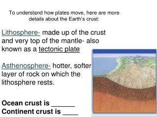 To understand how plates move, here are more details about the Earth's crust: