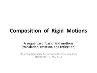 Composition   of  Rigid  Motions