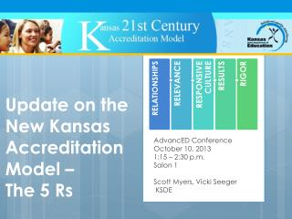 Update on the New Kansas Accreditation  Model –  The 5  Rs