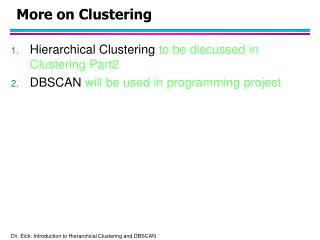 More on Clustering
