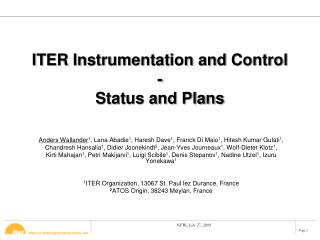 ITER Instrumentation and Control - Status and Plans