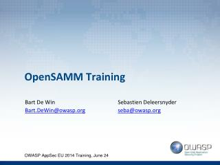 OpenSAMM  Training